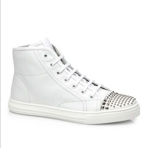 🇮🇹Gucci White stud high-top leather sneakers
